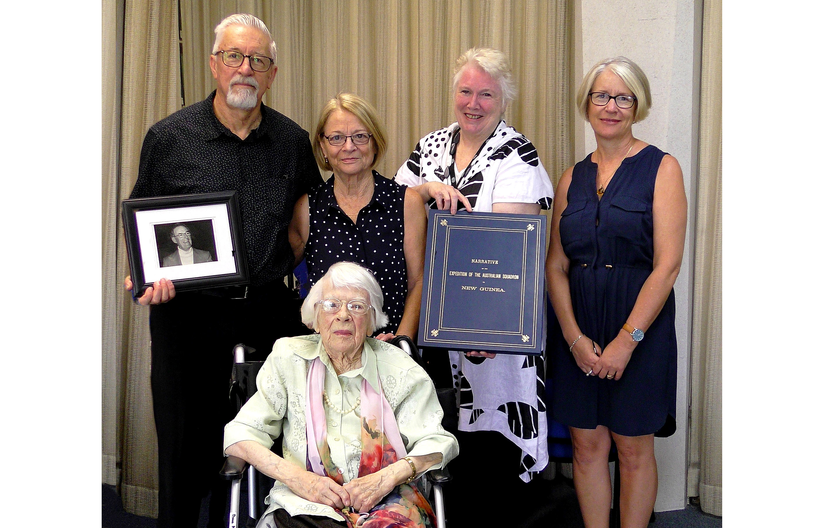 McAlpin family with University Librarian Roxanne Missingham