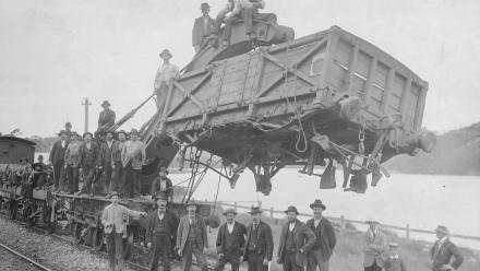 Forgotten Trades exhibit - men and railway crane