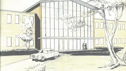The John Curtin School of Medical Research: watercolour of main entrance