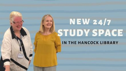 Roxanne Missingham and Grady Venville at the launch - text reads 'new 24/7 study space in the Hancock Library'