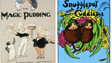 Book covers of The Magic Pudding, and Snugglepot and Cuddlepie
