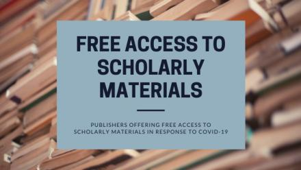 Publishers offering free access to scholarly materials in response to COVID-19