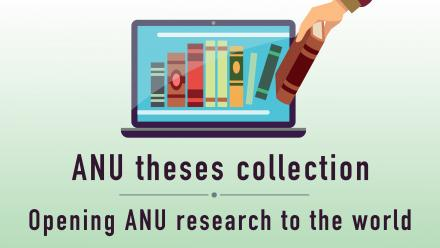 "Image of books on a laptop screen - text reads ""ANU theses collection - opening ANU research to the world"""