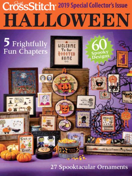 magazine cover 'cross stich Halloween' with pictures of halloween themed cross stitches