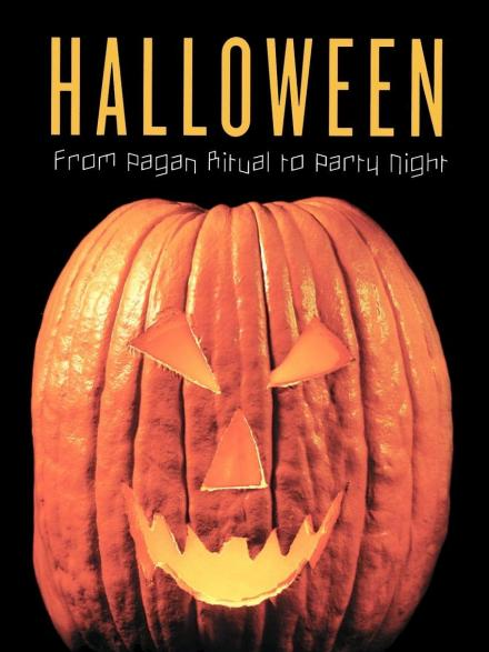Book cover featuring a carved Halloween pumpkin, text reads 'Halloween: from pagan ritual to party night'