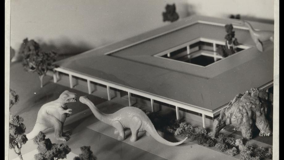 Dinosaur figurines checking model of zoology building