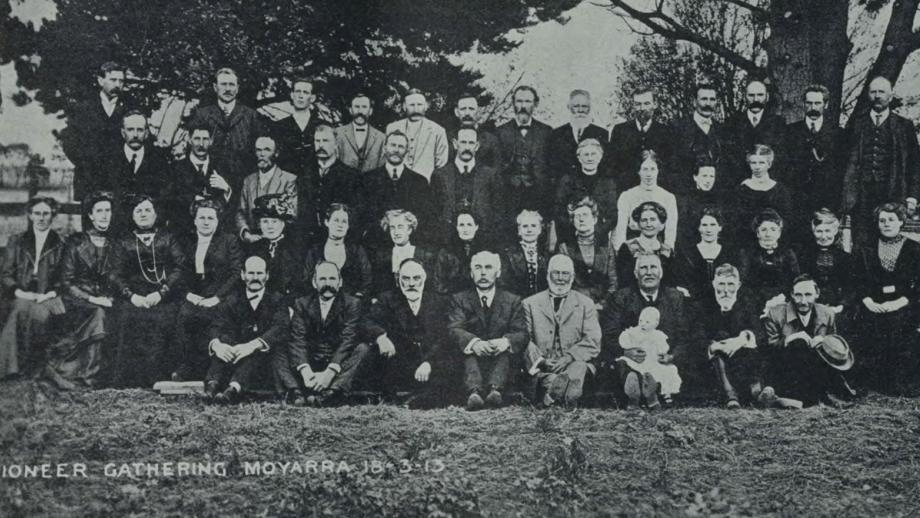 A historical photo of a group labeled 'Prioneer Gathering Moyarra 18 - 3 - 13'