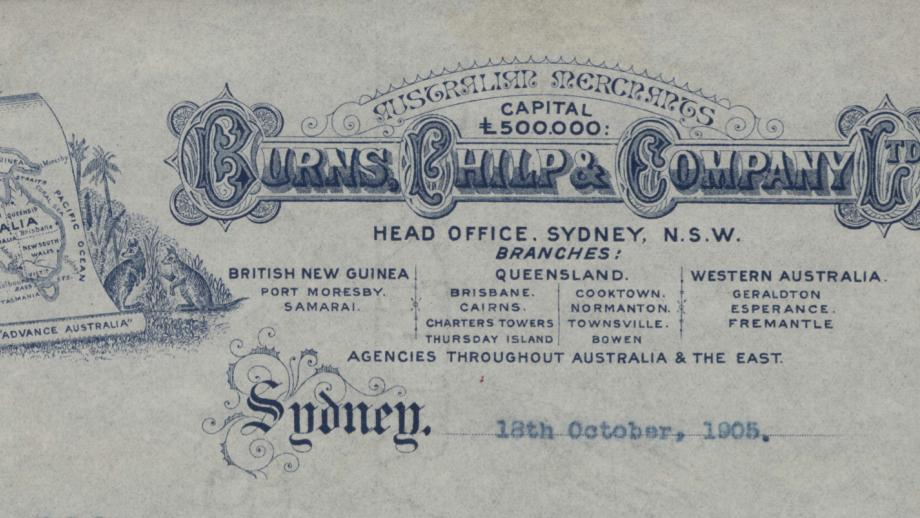 Burns Philp and Company LTD Sydney document from 18 October 1905