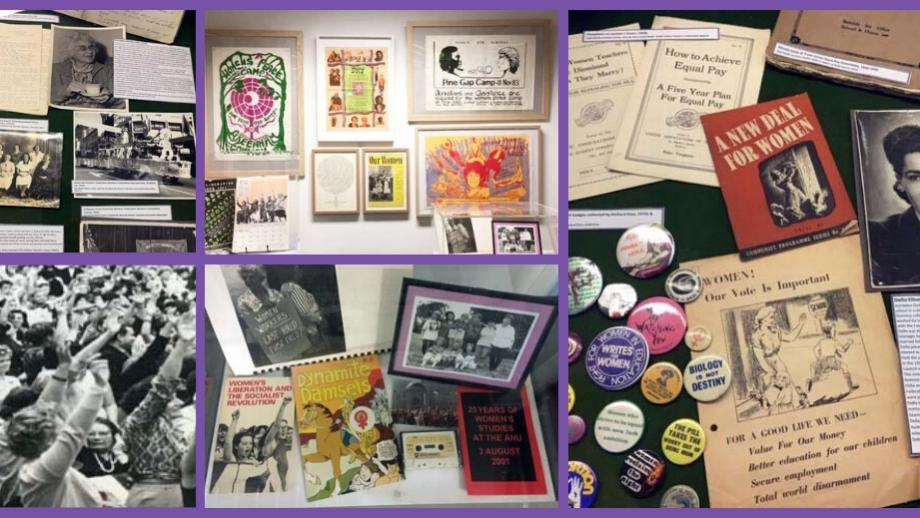 photos of the display in RG Menzies Library by the ANU Archives