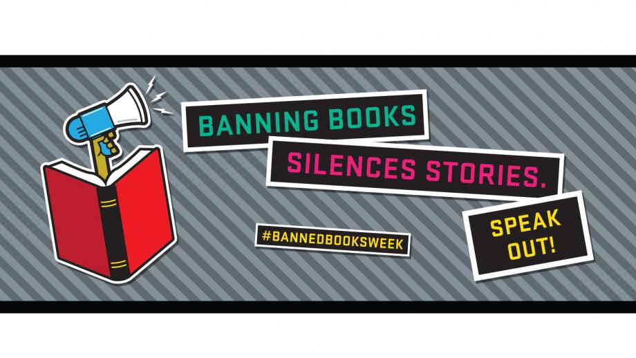Banned Books Week logo - banning books silences stories. Speak out! #BannedBookWeek