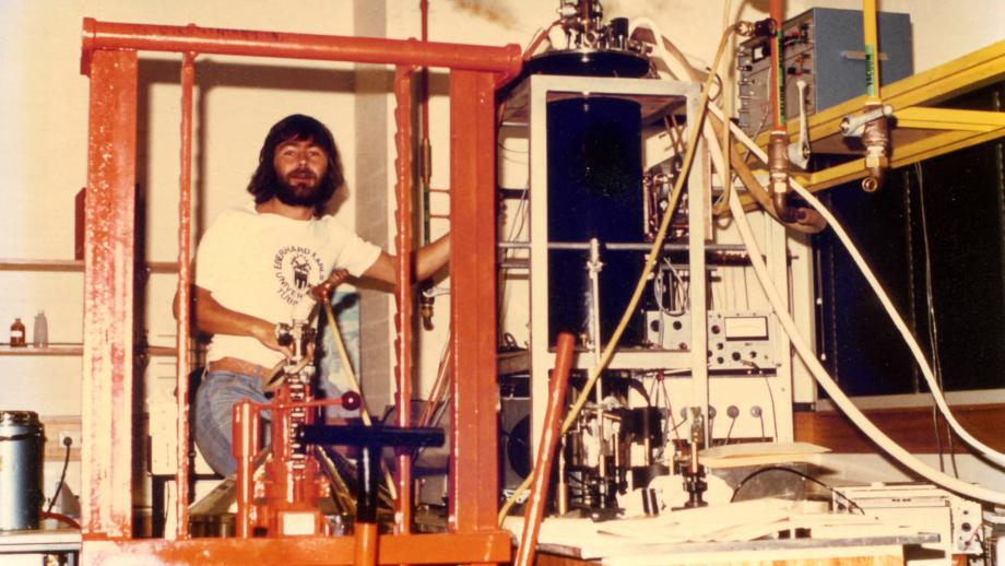 Ian Brunskill, circa 1978-1979, in an ANU laboratory, preparing for an experiment.