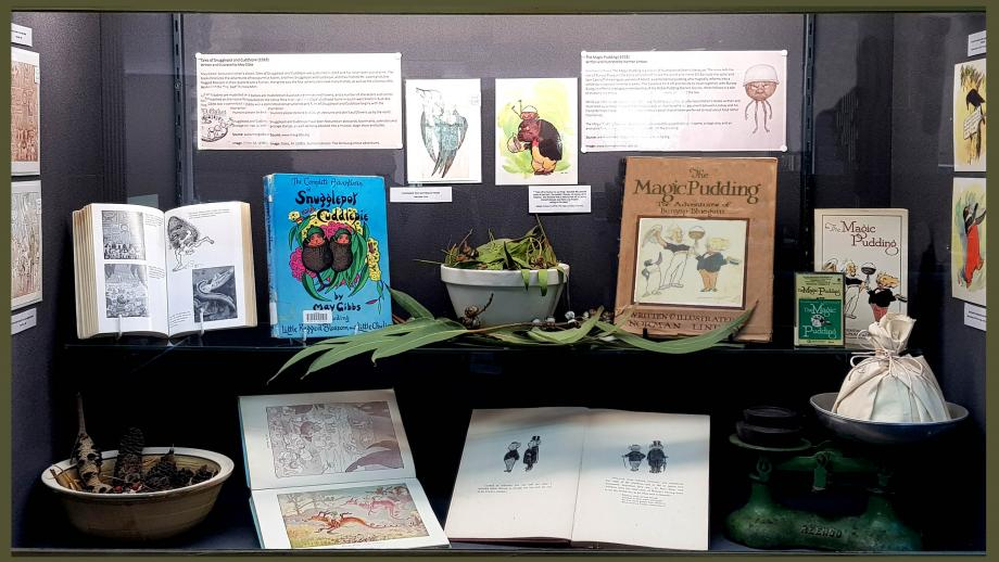 Chifley Library display cabinet - Snugglepot and Cuddlepie and The Magic Pudding