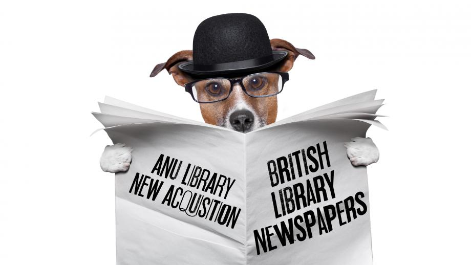 """Dog in bowler hat reading a newspaper that reads """"ANU Library new acquisition - British Library Newspapers"""""""