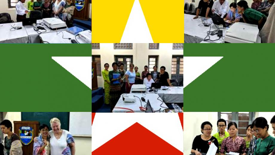 Images of Roxanne Missingham (ANU University Librarian) at the University of Yangon, Myanmar, launching the digital centre